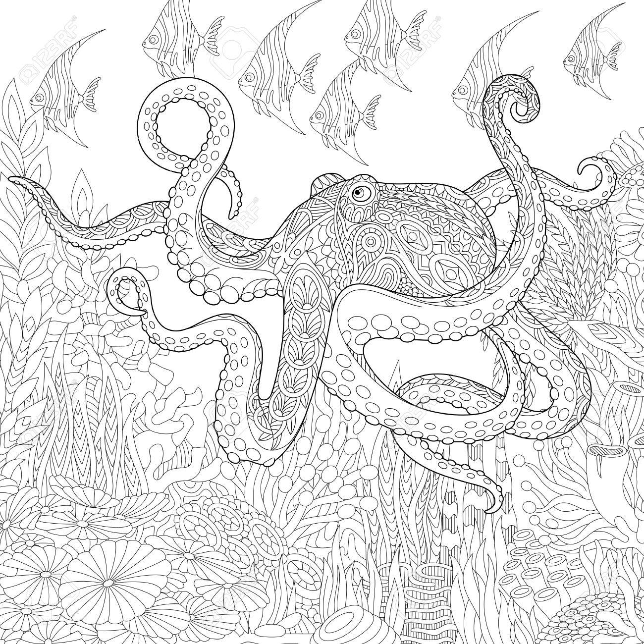 Stylized Composition Of Giant Octopus Tropical Fish Underwater Seaweed And Corals Freehand Sketch