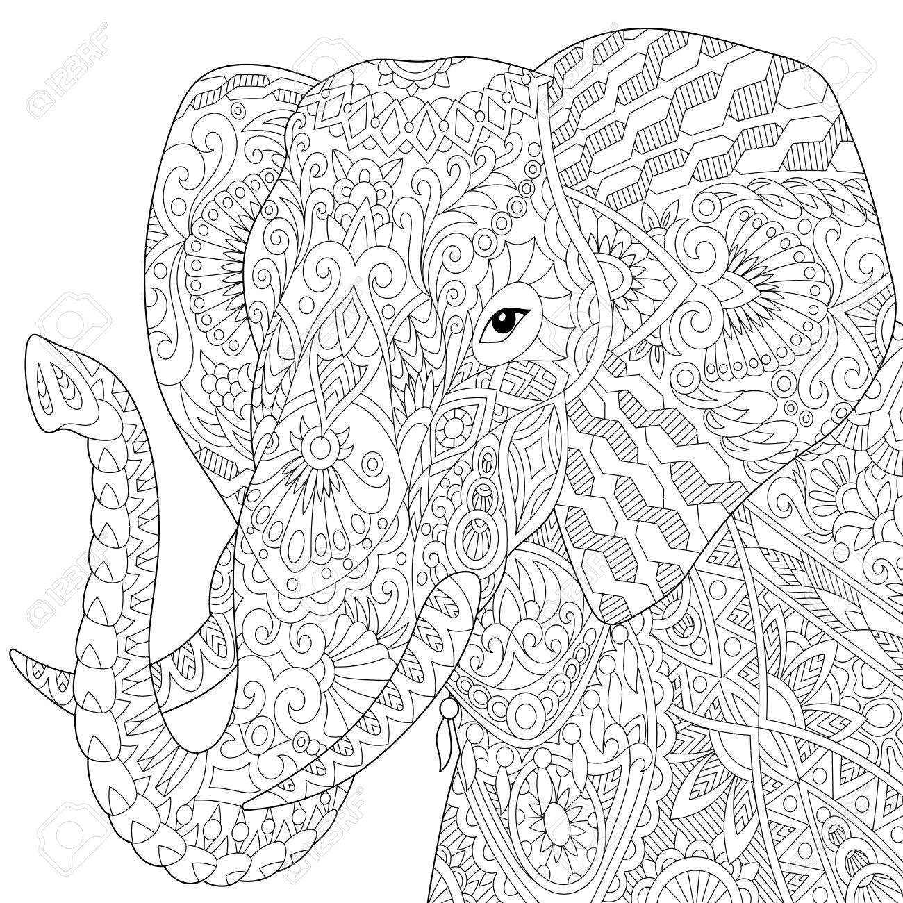 Stylized elephant, isolated on white background. Freehand sketch for adult anti stress coloring book page with doodle and zentangle elements. - 66648271