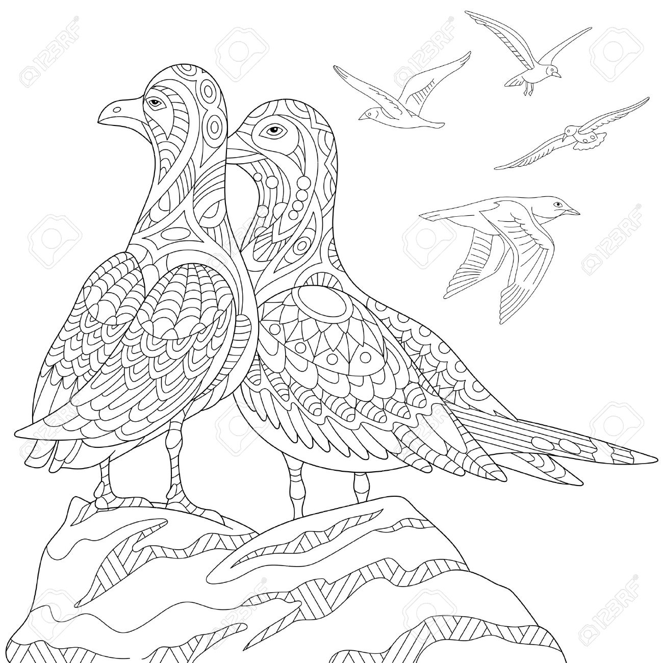 Stylized Seagulls Flock Of Marine Birds Freehand Sketch For Adult Anti Stress Coloring Book