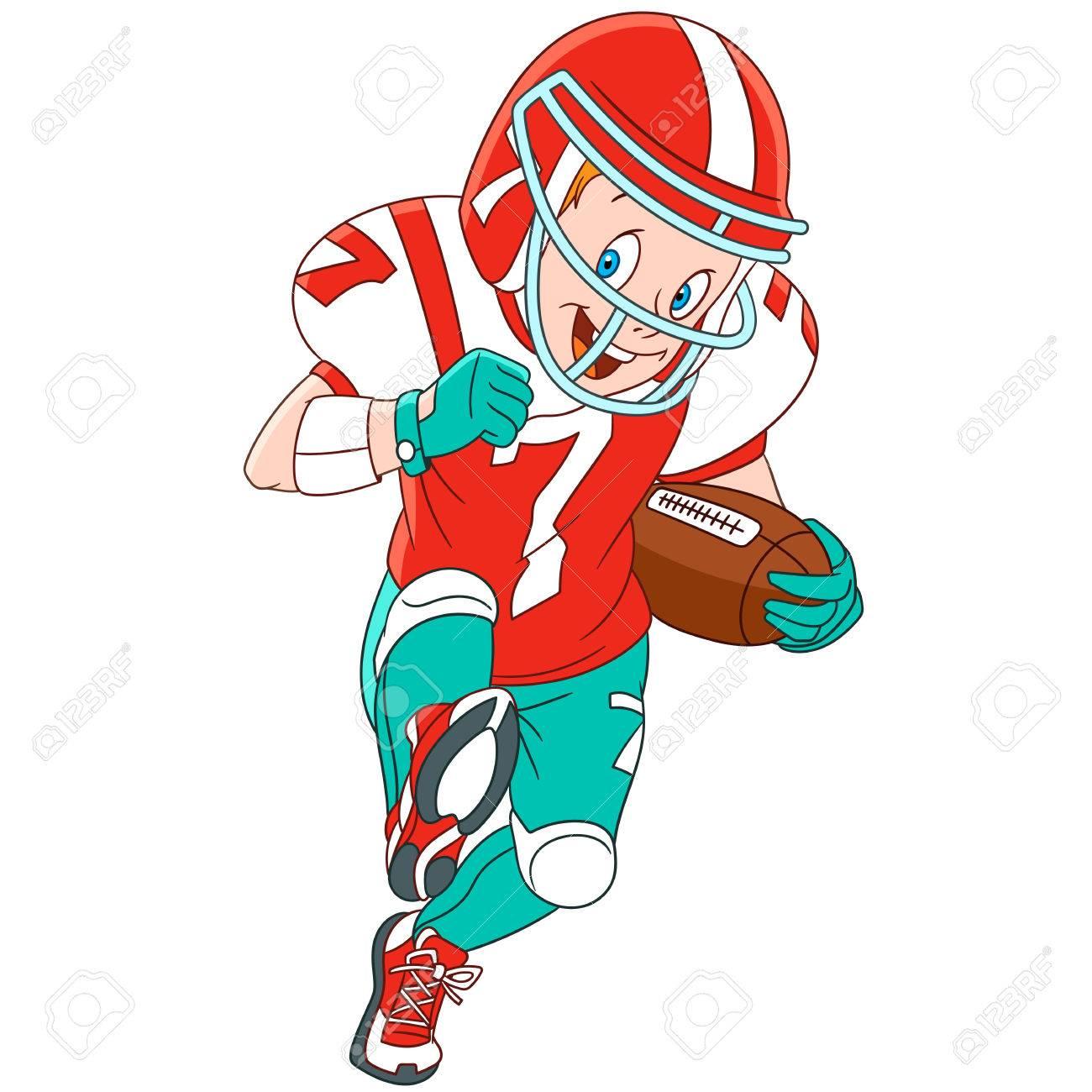 かわいいと喜んで漫画少年ラグビー アメリカン フットボール白い背景
