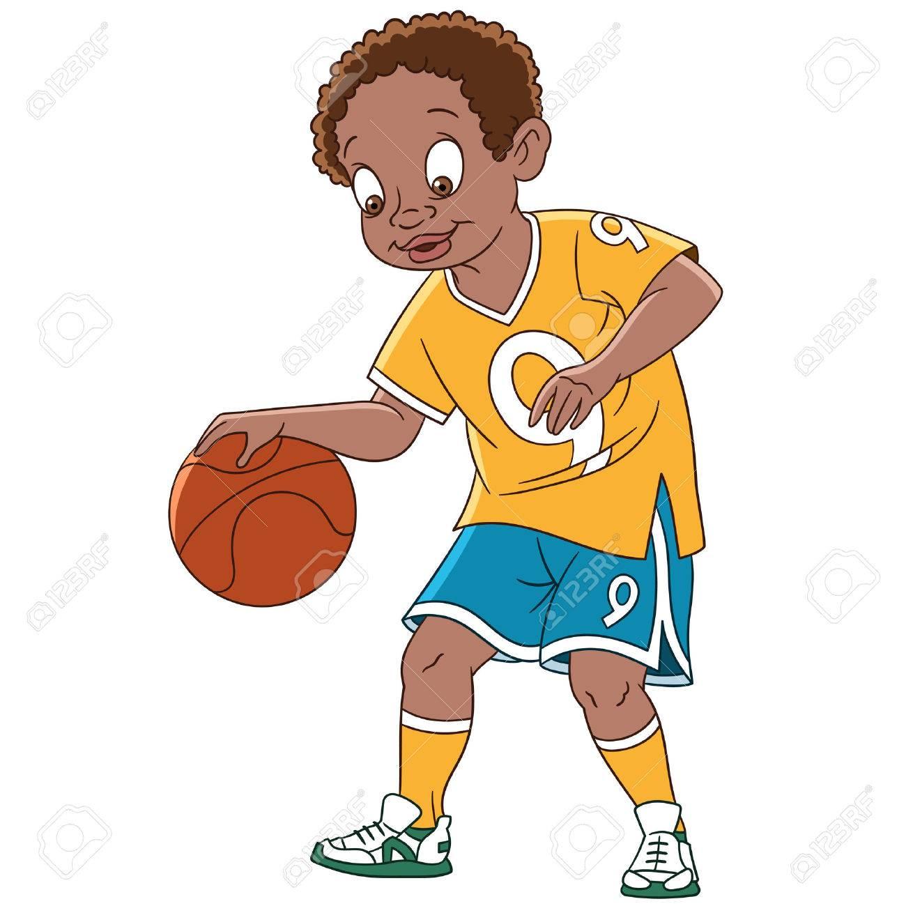 Baloncesto Que Juega Niño De Dibujos Animados Lindo Y Feliz, Aislado ...