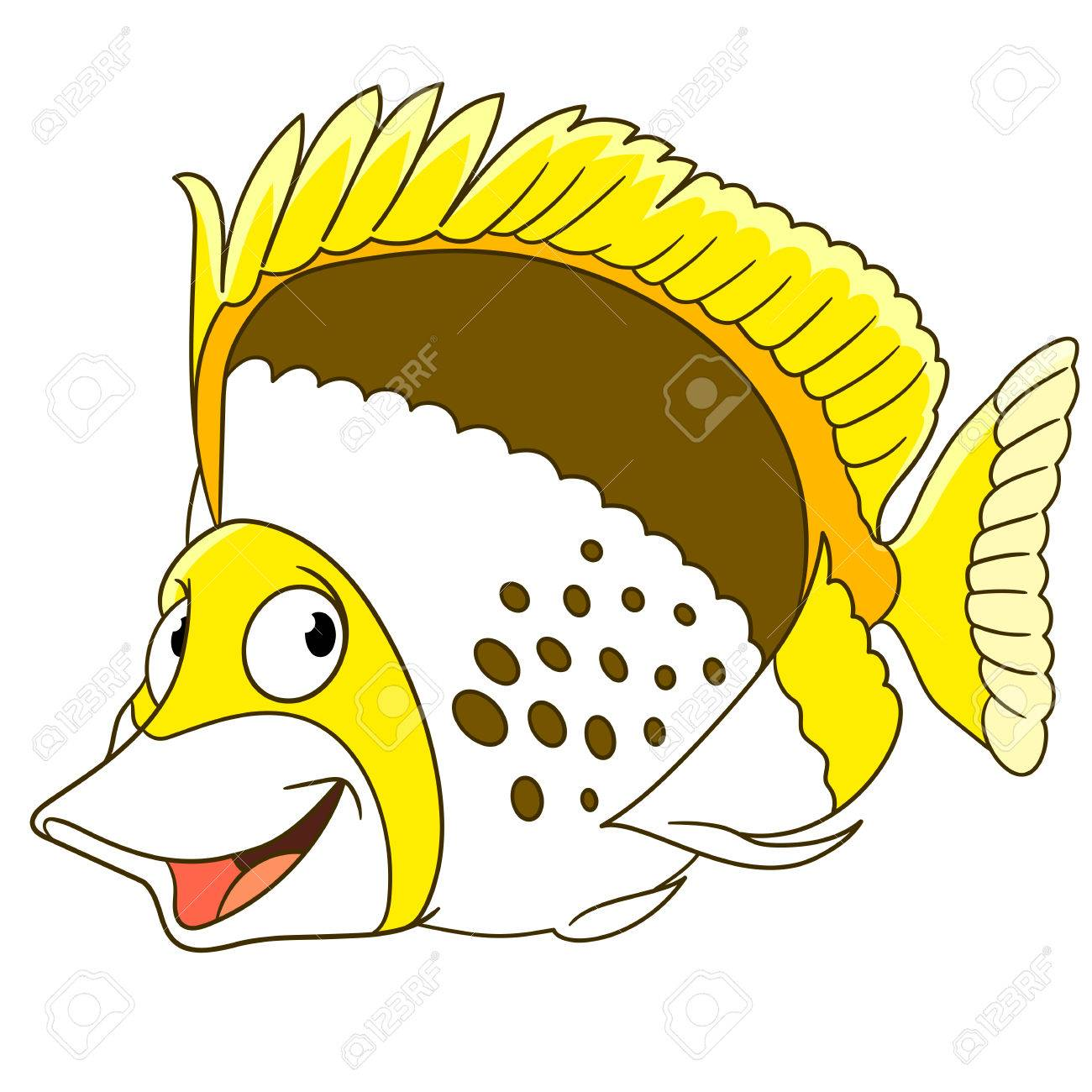 Cartoon Butterfly Fish, Isolated On White Background. Childish ...