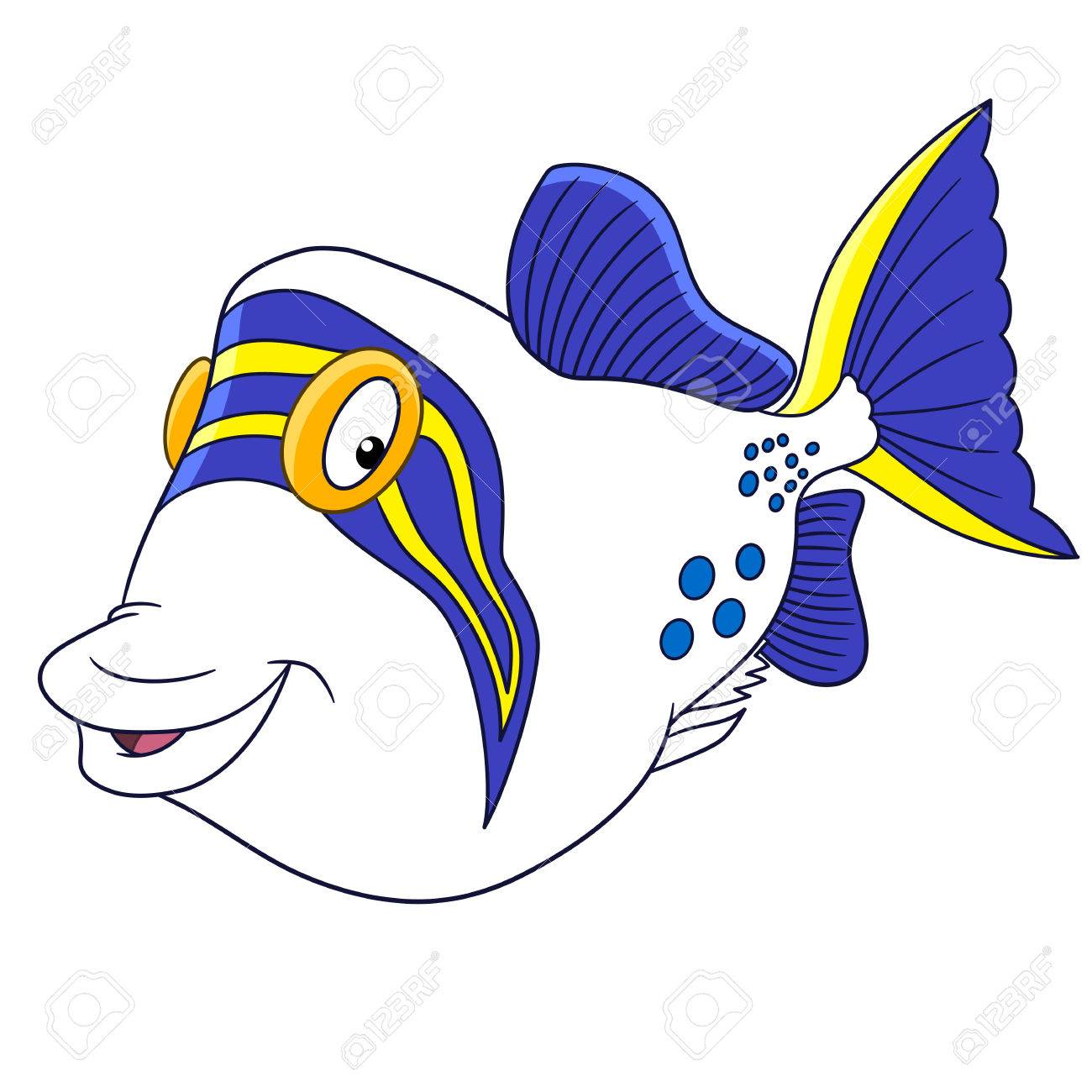 Cartoon Triggerfish (trigger Fish), Isolated On White Background ...