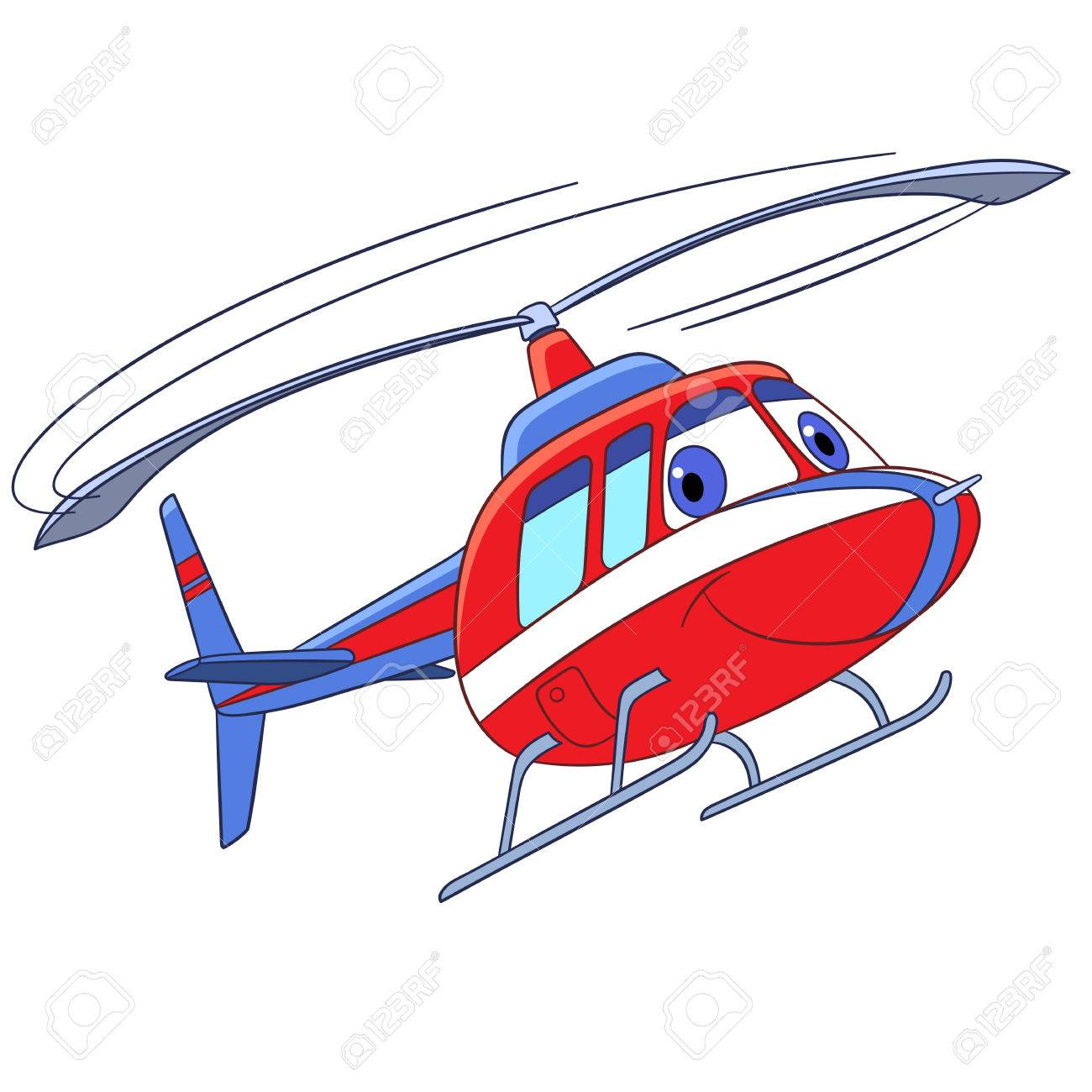 Cartoon flying transport. Helicopter, isolated on white background. Childish vector illustration and colorful book page for kids. - 69825232