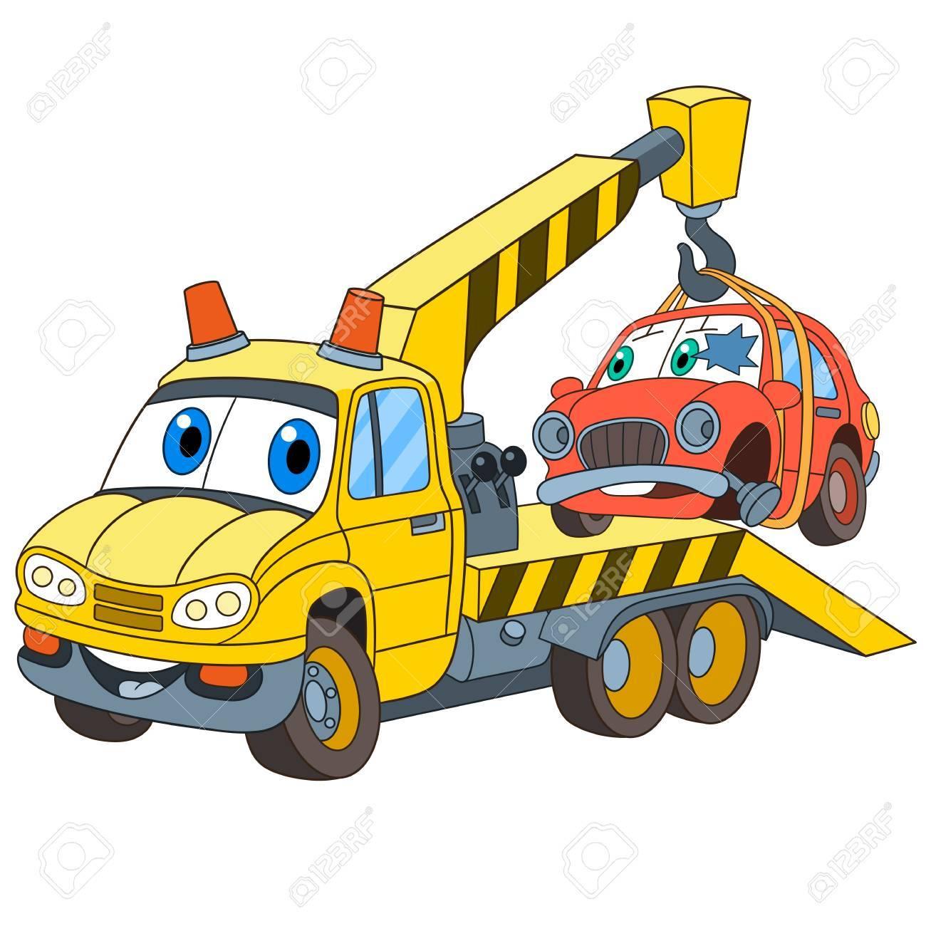 Transporte De Vehículos De Dibujos Animados. Camión De Remolque ...