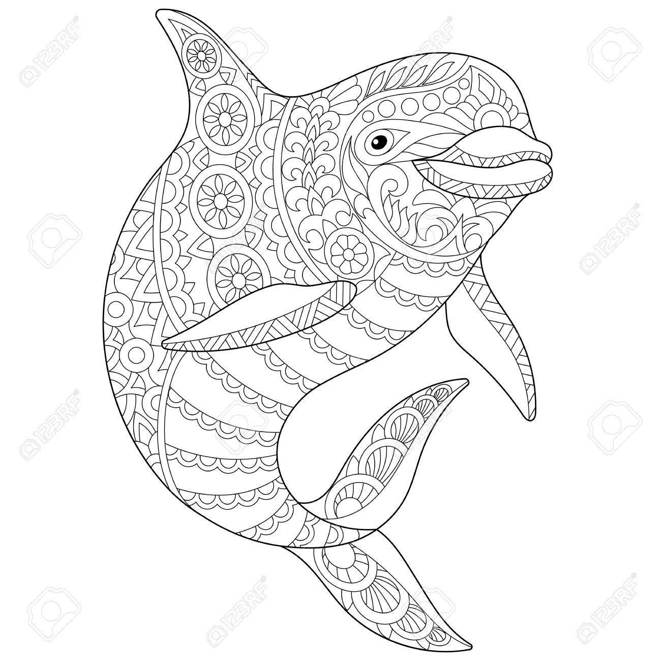 Stilisierte Ozean Delphin Tier Freehand Skizze Für Erwachsene Anti