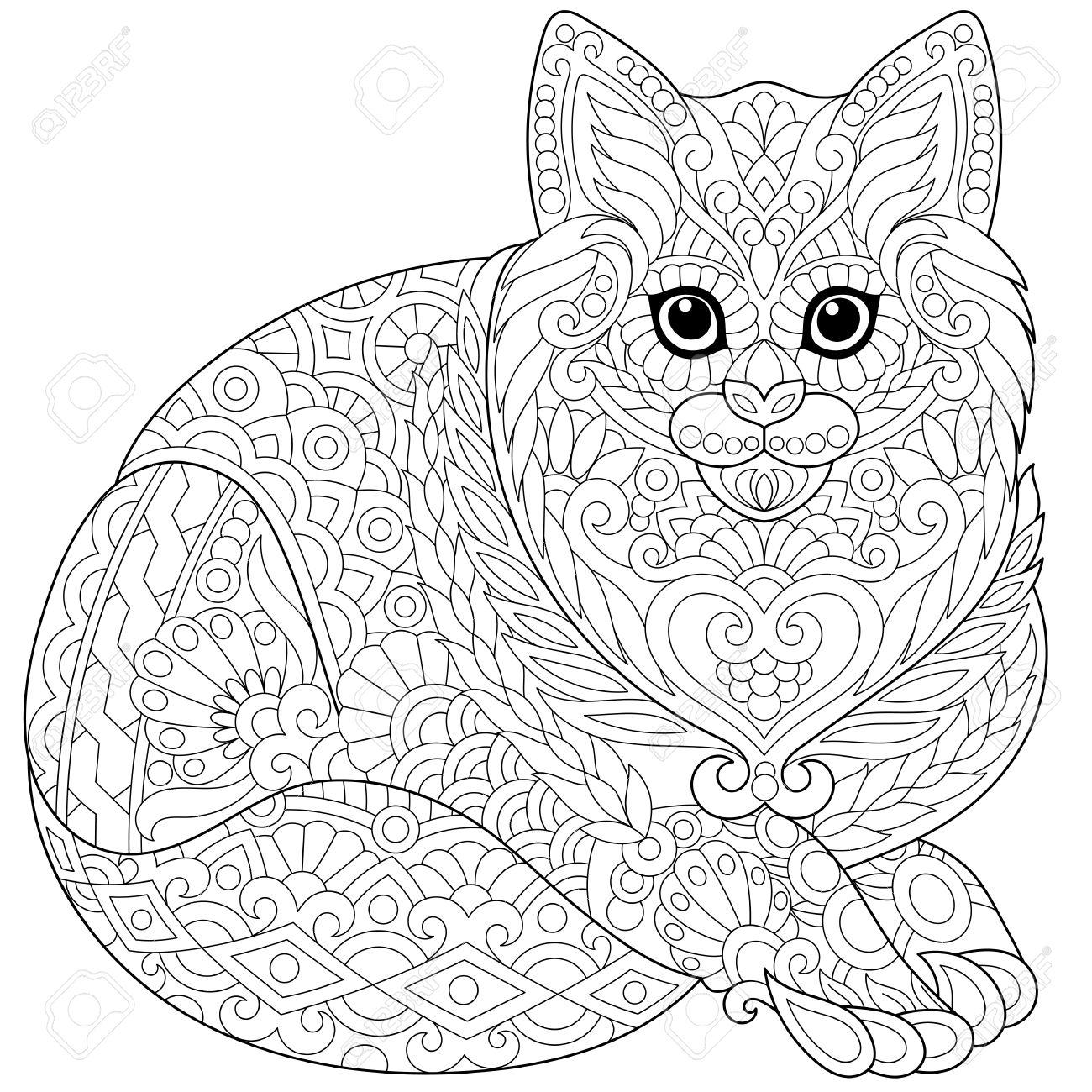Gato Lindo Estilizado (gatito Joven). Boceto A Mano Alzada Para ...