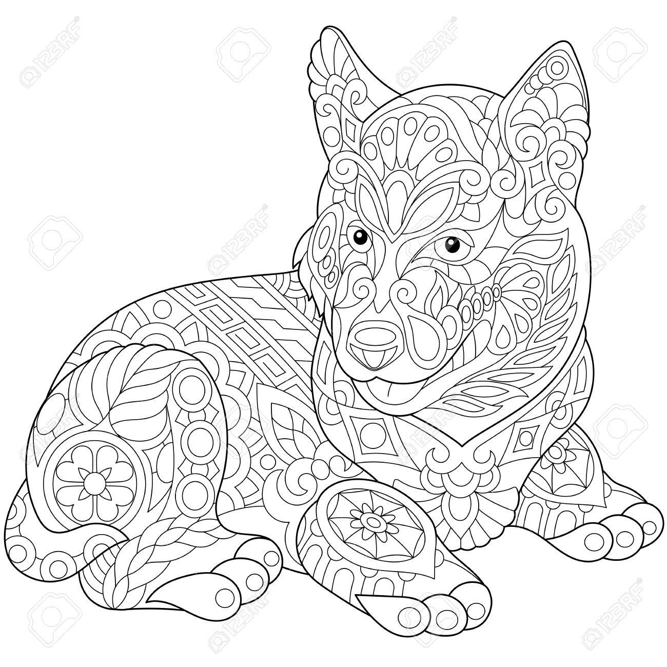 Stylized Cute Husky Dog Puppy Freehand Sketch For Adult Anti