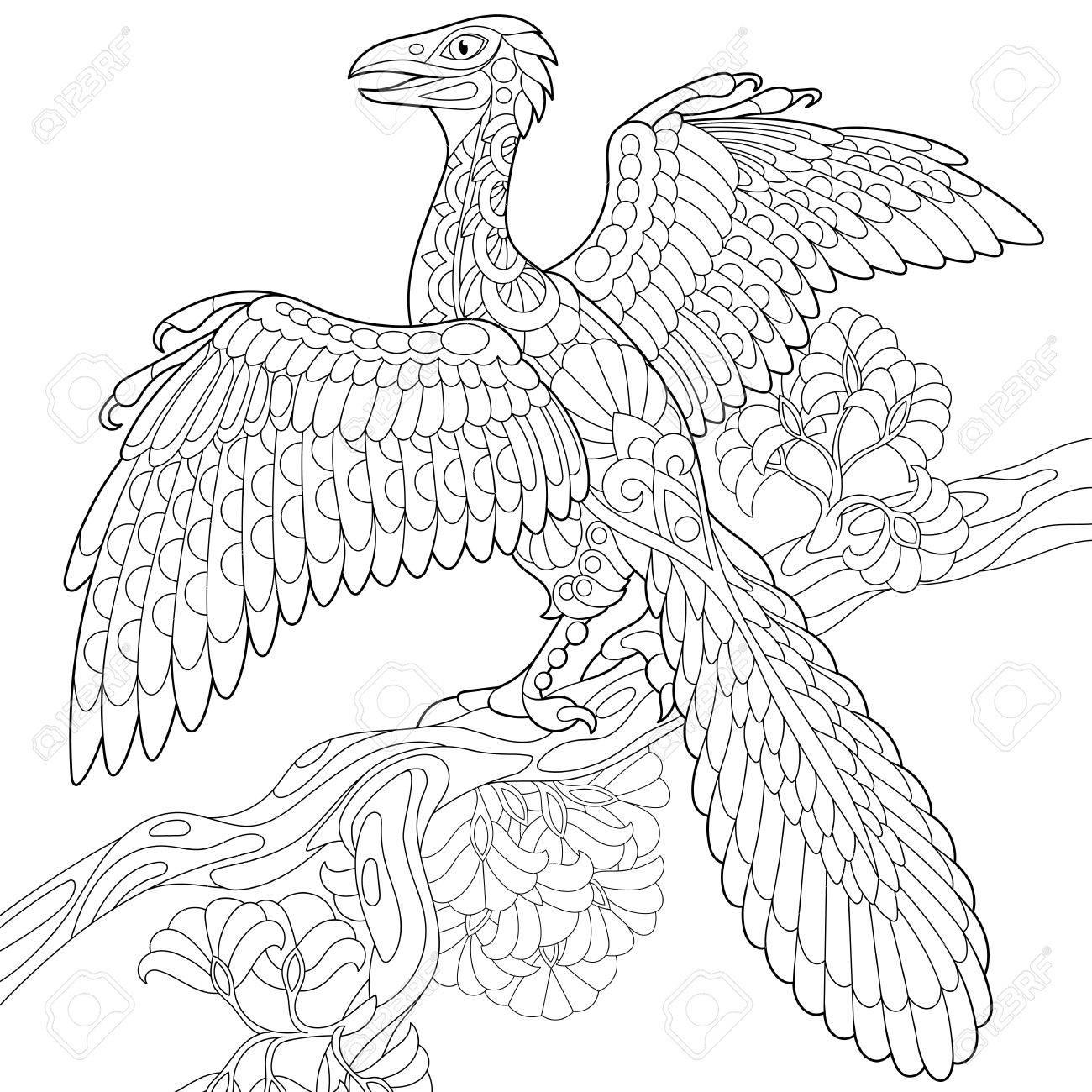 Dinosaurio Estilizado Del Archaeopteryx, Pájaro Fósil Del Período ...