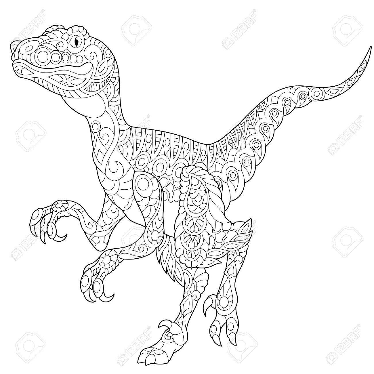 Dinosaurio Velociraptor Estilizado De Finales Del Período Cretácico ...