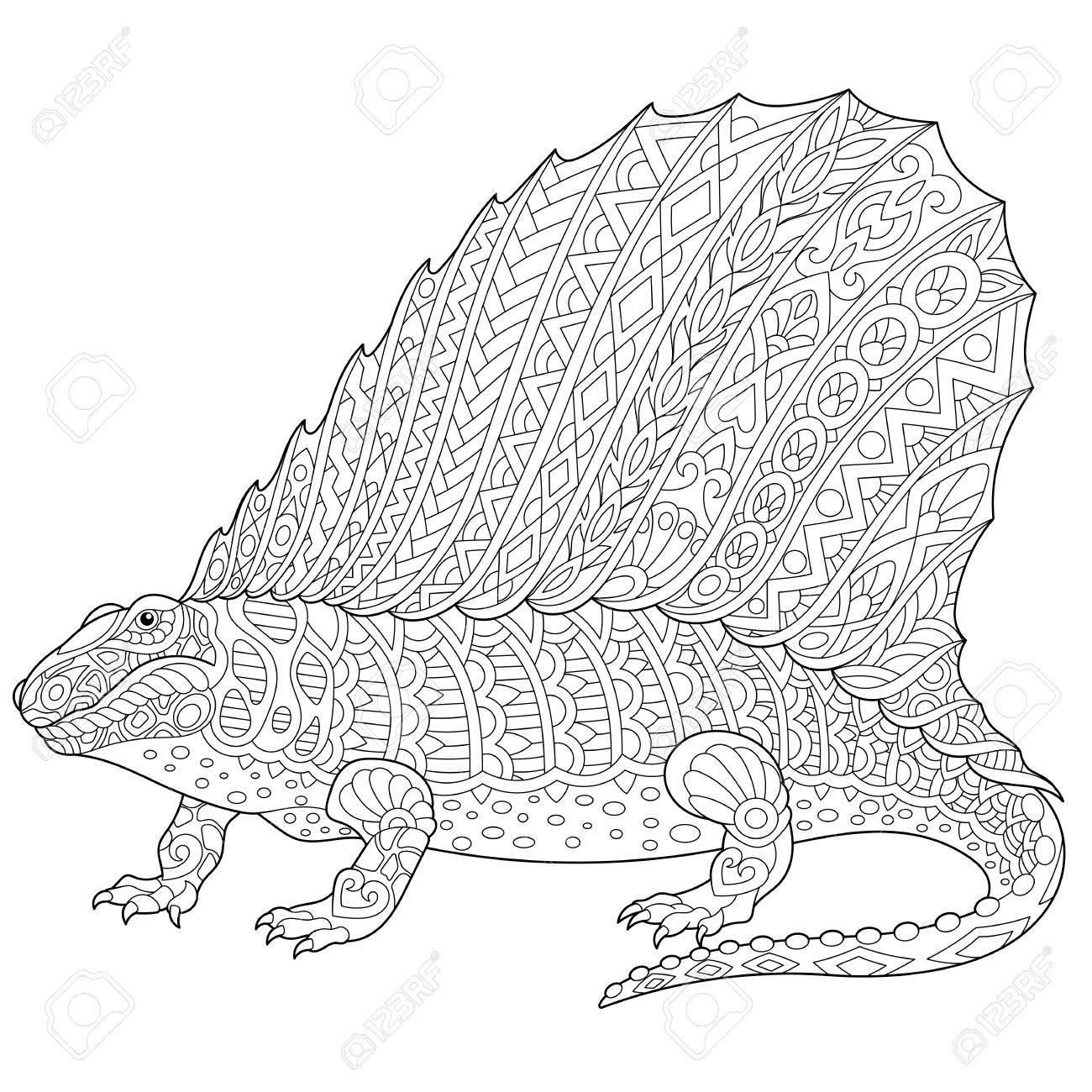 Coloriage Dinosaure Adulte.Dinosaure Dimetrodon Stylise Reptile Fossile De La Periode Du