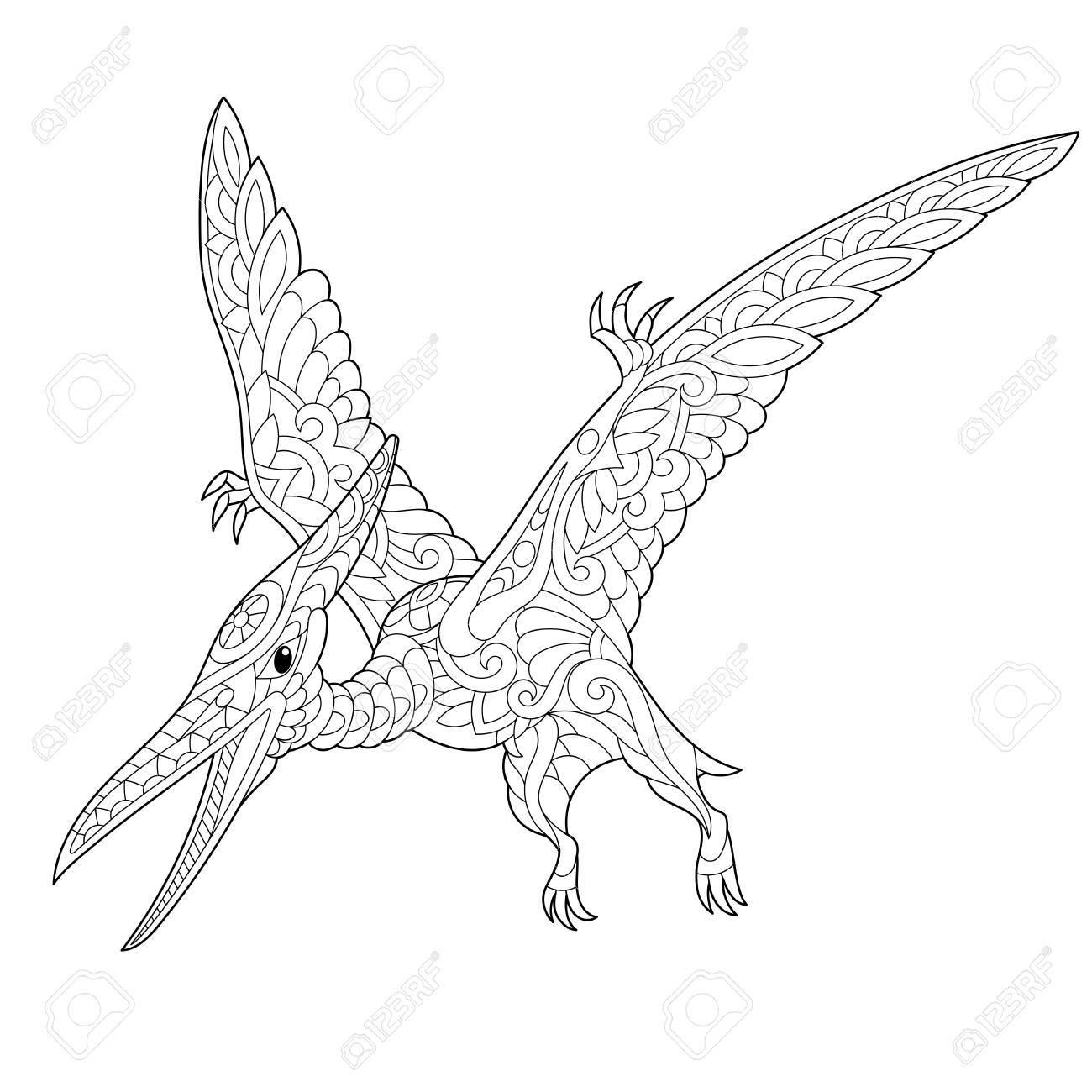 Dinosaurio Pterodáctilo Estilizado, Pterosaurio Del Período Jurásico ...