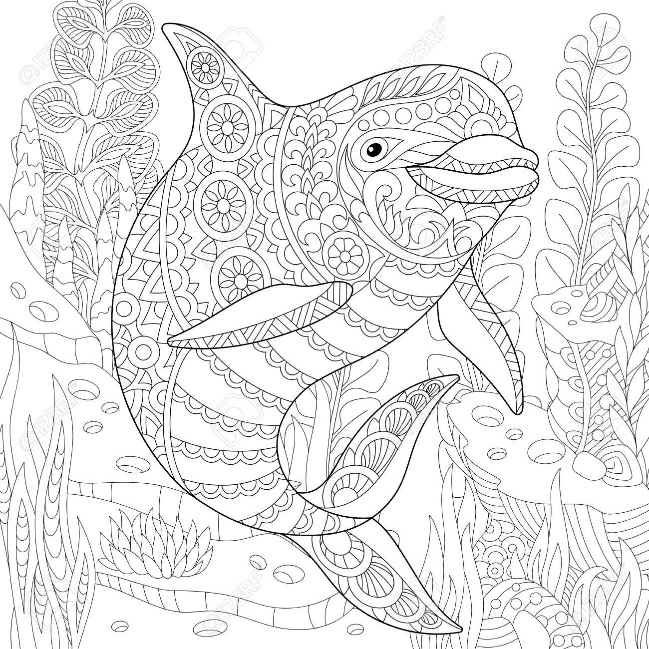 Stylized cute dolphin swimming among underwater seaweed. Freehand sketch for adult anti stress coloring book page with doodle and zentangle elements. - 72763239