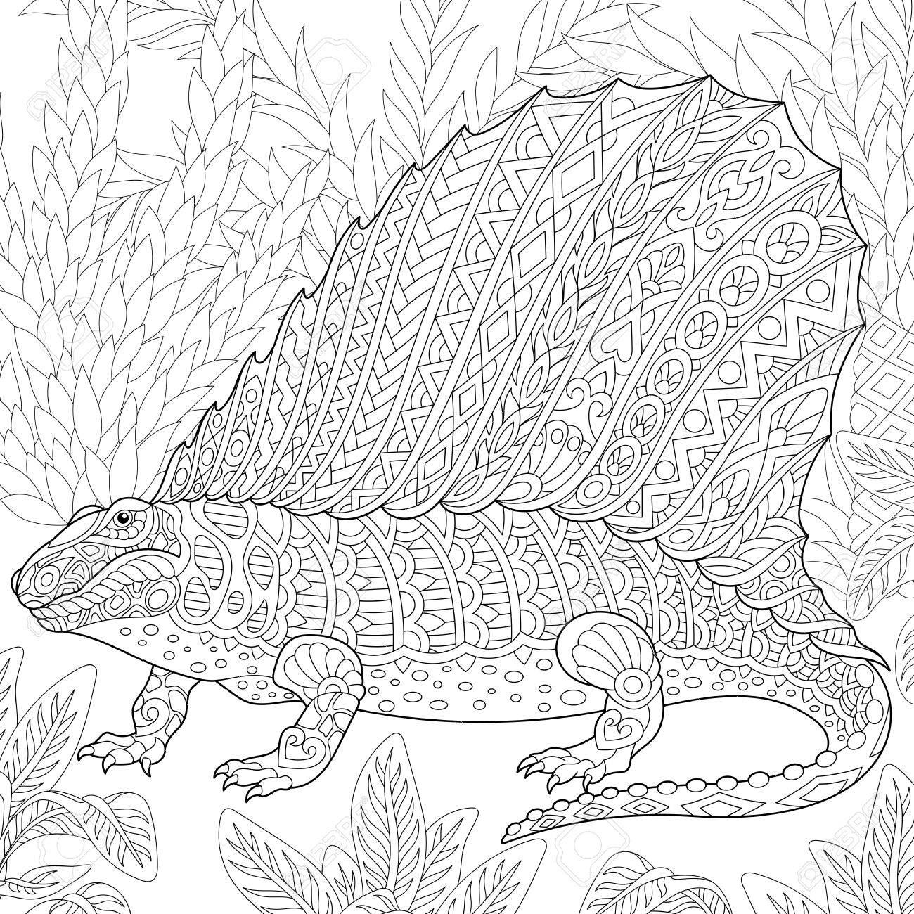 Dinosaurio Dimetrodon Estilizada, Reptil Fósil Del Período Pérmico ...
