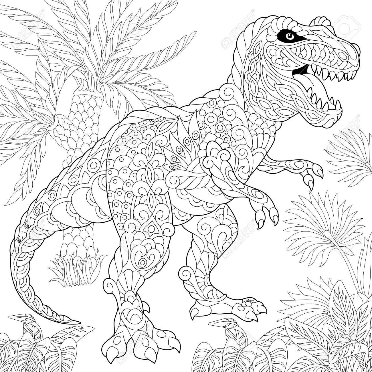 Dinosaurio Estilizado Del Tyrannosaurus T Rex Del Período Cretáceo Posterior Boceto A Mano Alzada Para Adultos Contra El Estrés Página Del Libro