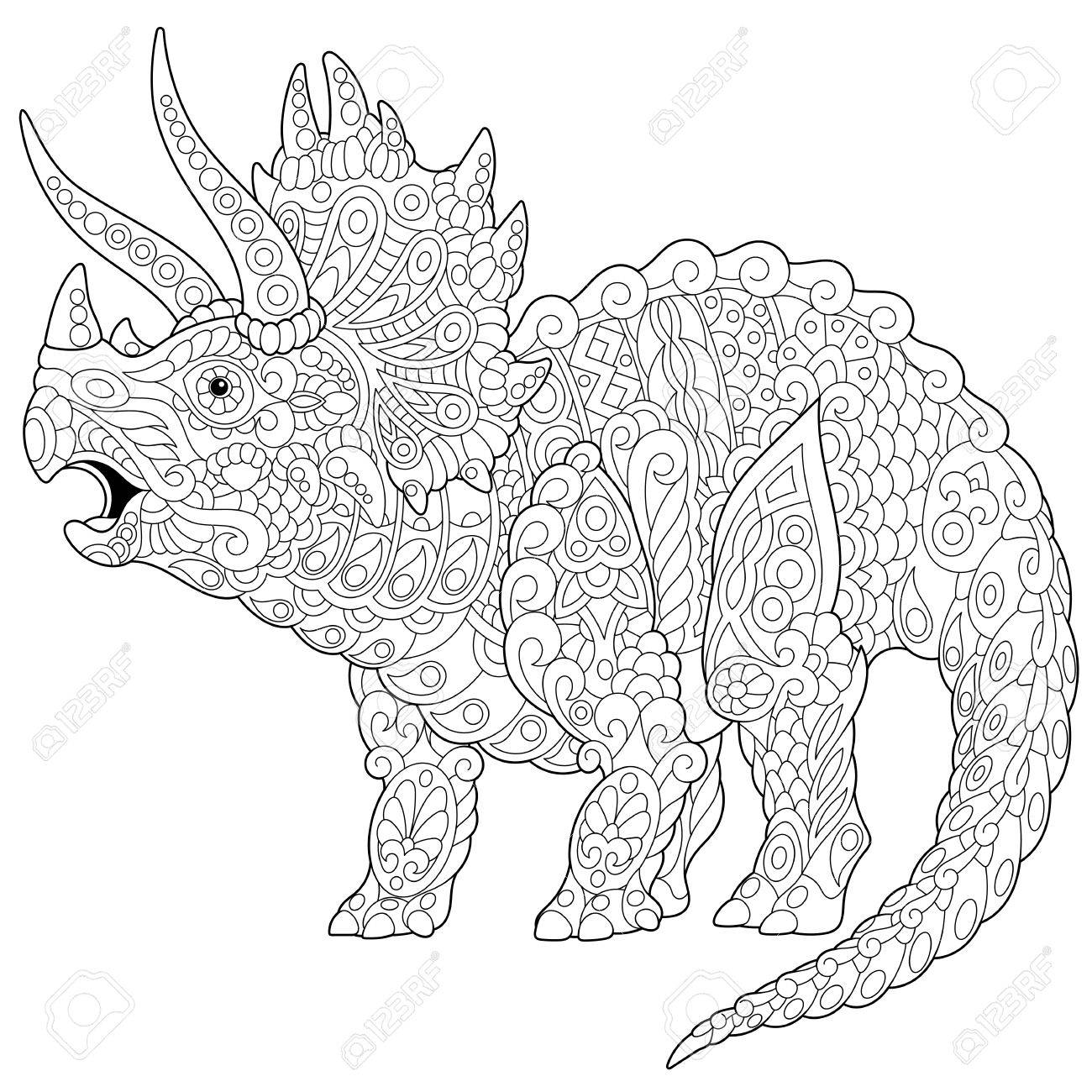 Stylized triceratops dinosaur living at the end of the Cretaceous period, isolated on white background. - 72670007