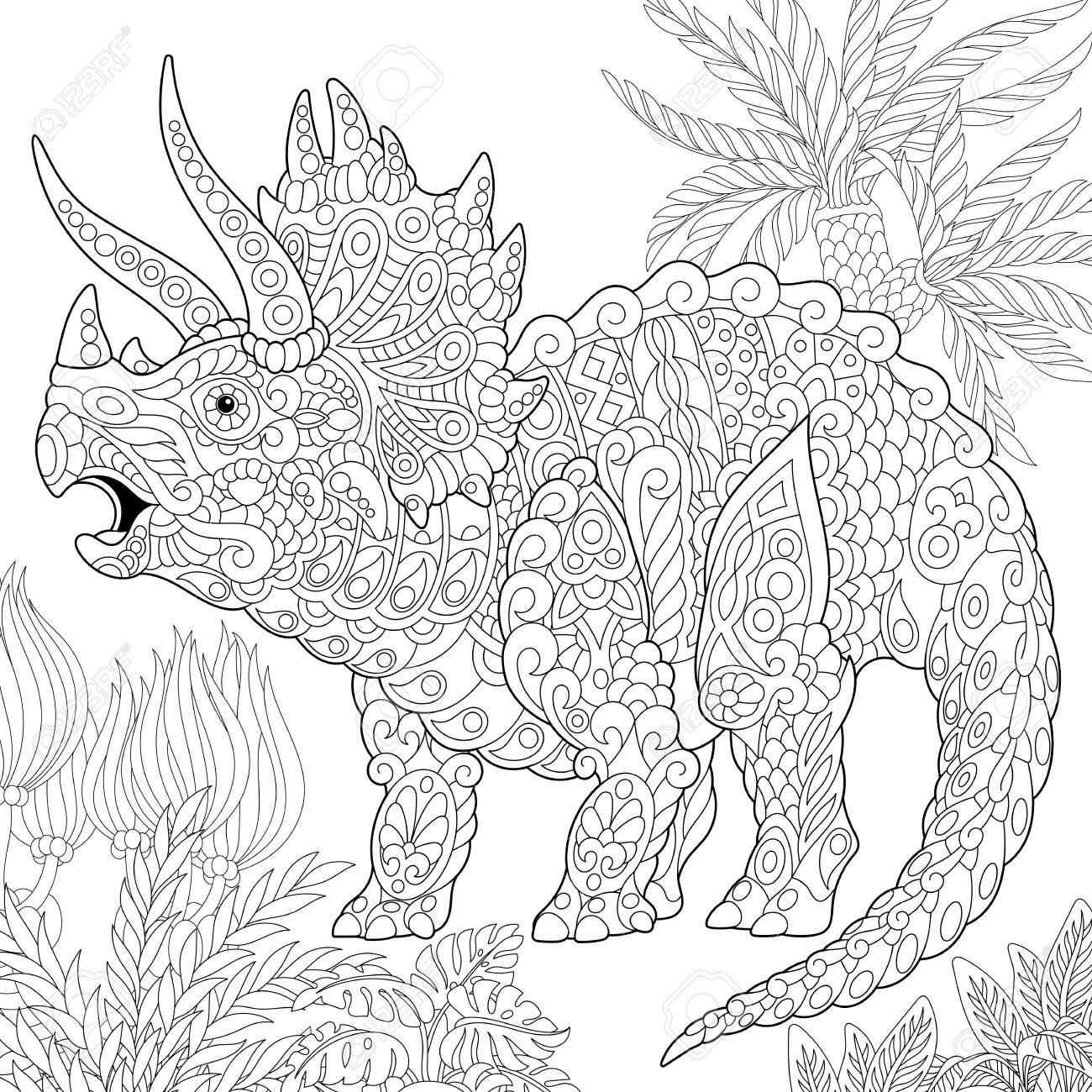 Dinosaurio Estilizado Del Triceratops Que Vive En El Final Del ...