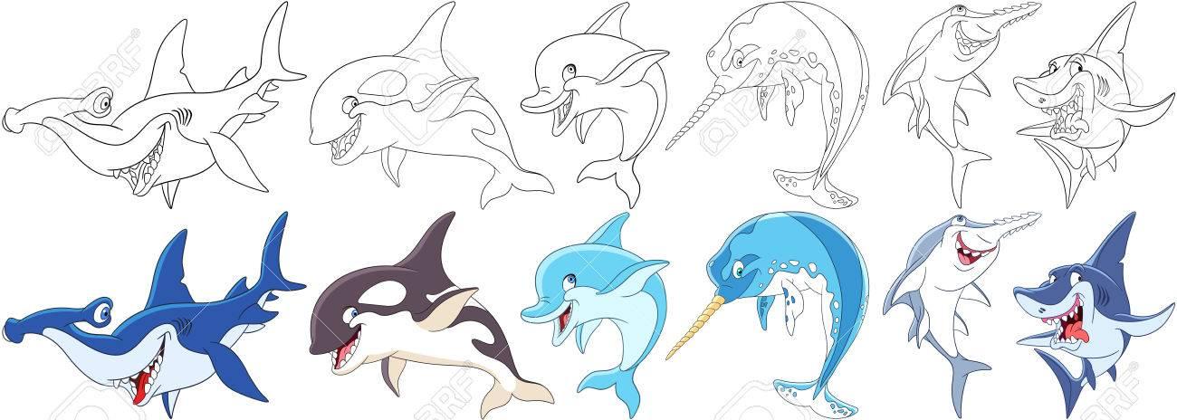 Les Animaux De Bande Dessinée Sont Fixés Collection De Prédateurs Sous Marins Marteau épaulard Orca Dauphin Narval Poisson De Licorne