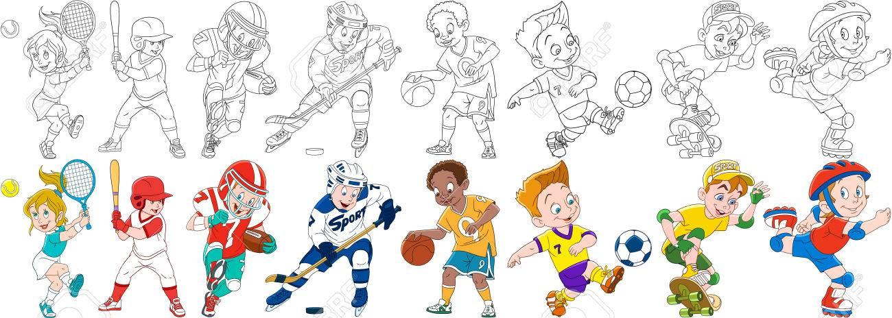 Niños Deportivos De Dibujos Animados Conjunto. Colección Deportiva ...