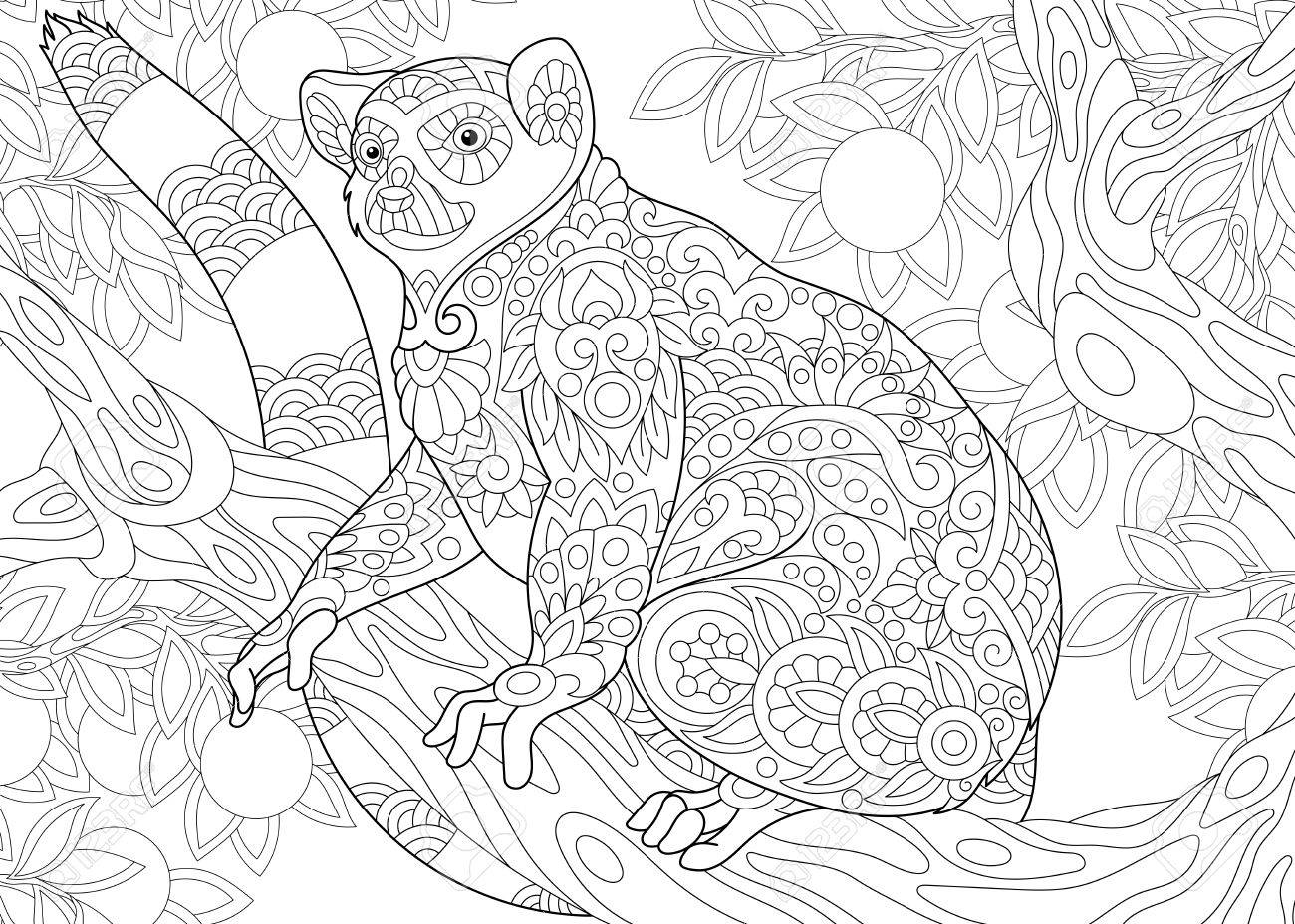 Stylized Wild Lemur Madagascar Mammal Animal Freehand Sketch Royalty Free Cliparts Vectors And Stock Illustration Image 77600603