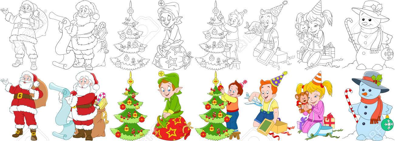 Conjunto De Año Nuevo De Dibujos Animados. Papá Noel Con Regalos Y ...