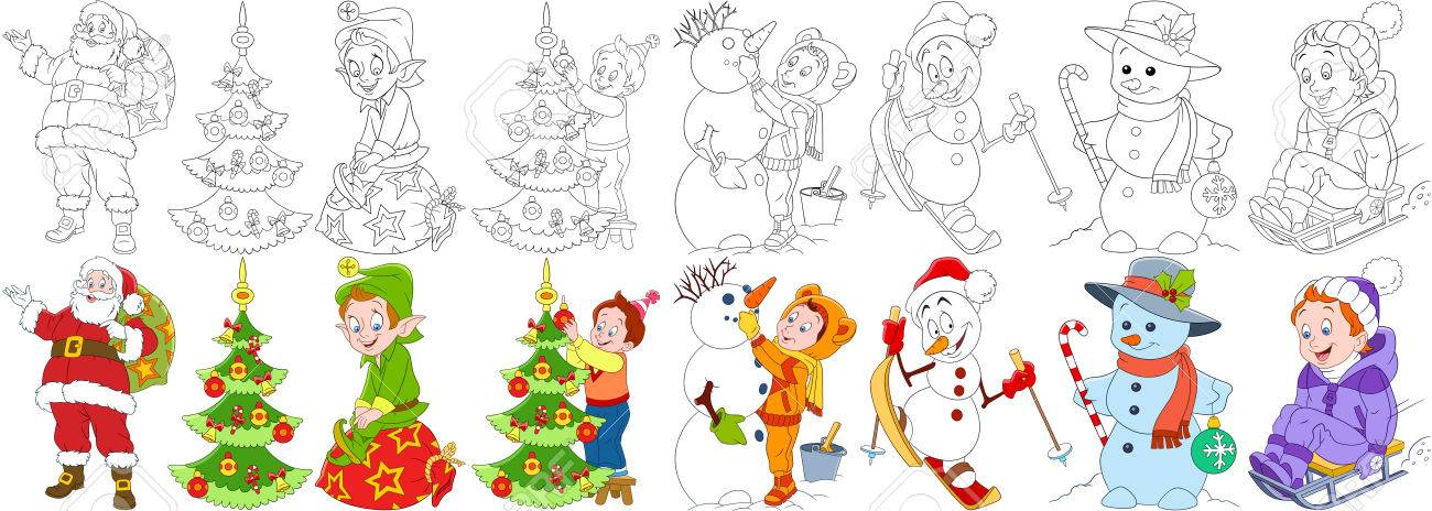 Cartoon Christmas Set Santa Claus With Presents And His Helper Elf Child Decorating Fir