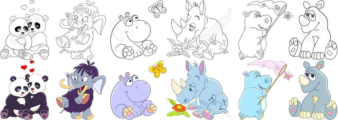 Conjunto De Animales De Dibujos Animados. Colección De Mamíferos ...