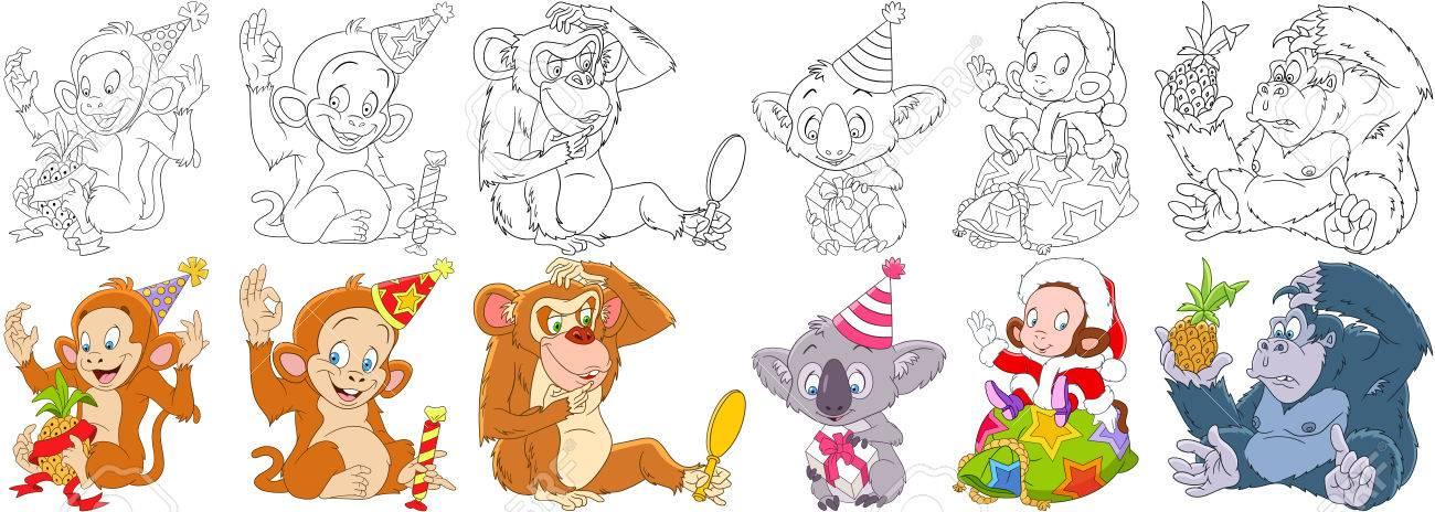 Cartoon Tiere Gesetzt. Neujahrsammlung Affe, Affe, Schimpanse ...
