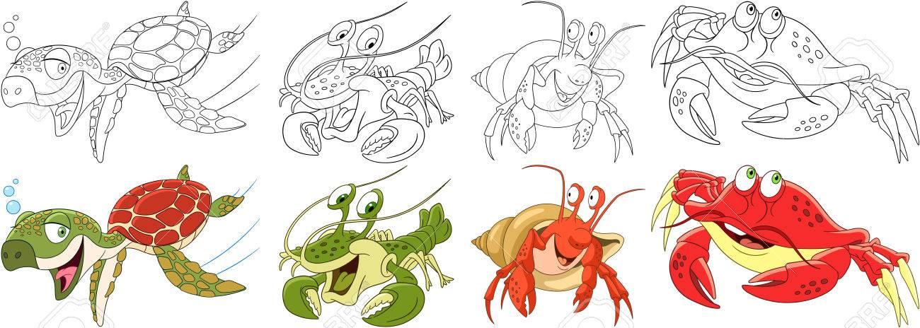 Conjunto De Animales De Dibujos Animados. Colección De Artrópodos Y ...