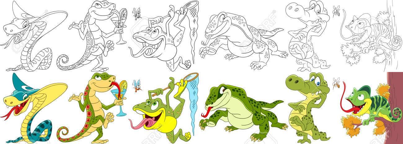 Conjunto De Animales De Dibujos Animados. Colección De Reptiles Y ...