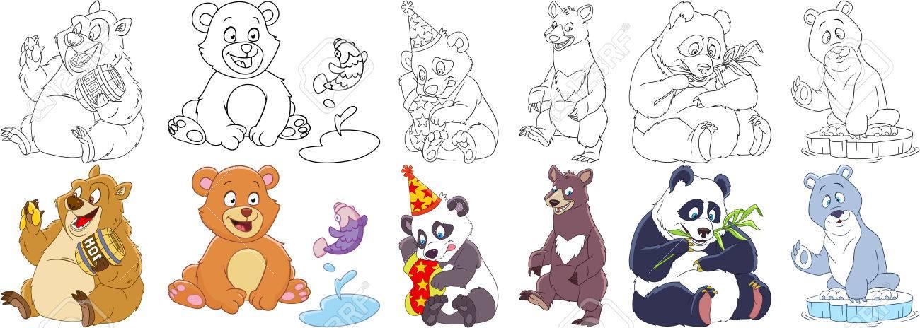 Conjunto De Animales De Dibujos Animados. Colección Infantil De Osos ...