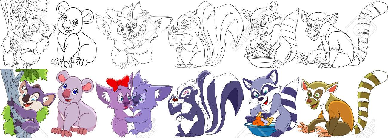 Coloring Book Pages For Kids Cartoon Animal Set Childish Collection Of Fluffy Mammals Koala Bears Bad Smelling Skunk