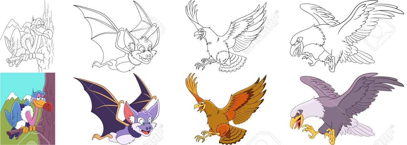 Conjunto De Animales De Dibujos Animados. Colección De Aves ...