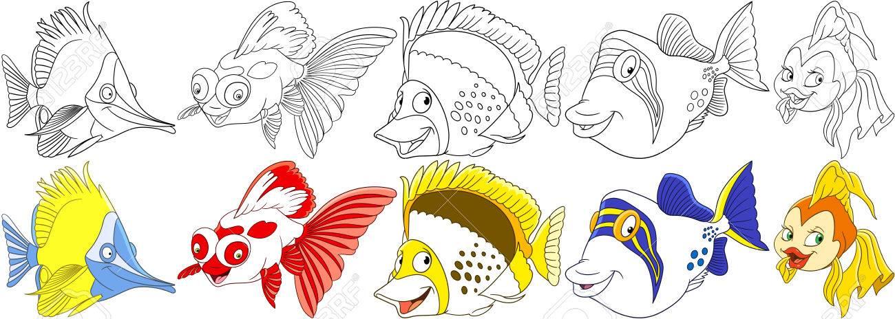 Animales del océano de la historieta fijados. Pescado de mariposa larga, carpa koi, angelfish, filefish, goldfish. Páginas para colorear para ...