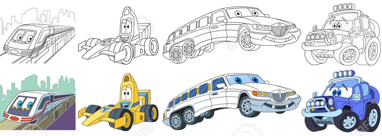Conjunto De Transporte De Dibujos Animados. Recogida De Vehículos ...