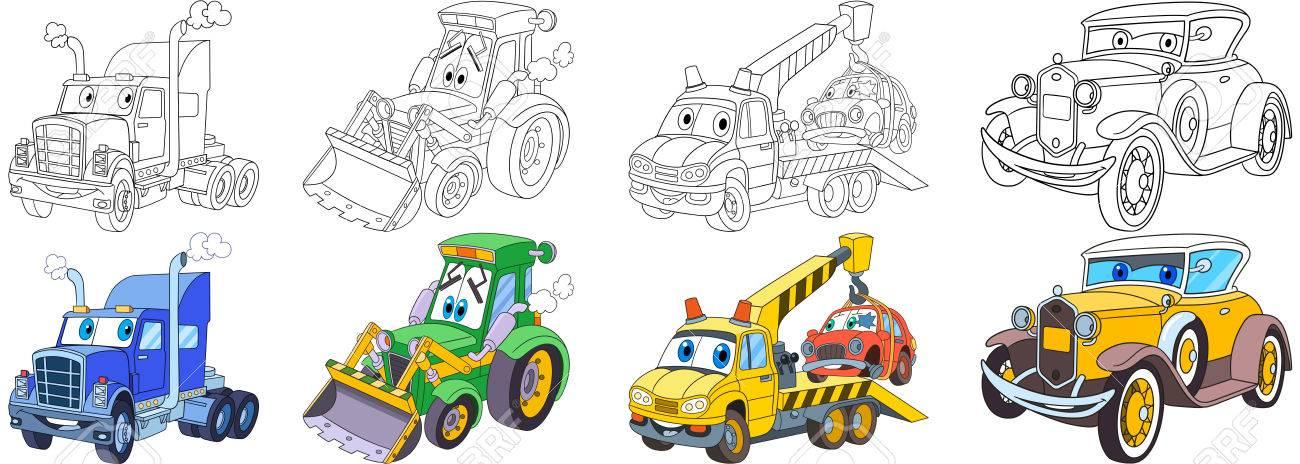 Coloriage Camion Tracteur.Ensemble De Transport De Dessins Animes Collecte De Vehicules Semi