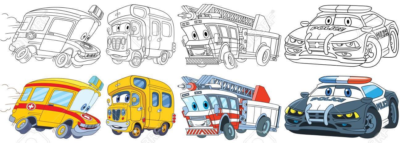 Ensemble De Transport De Dessins Animés Collecte De Véhicules Ambulance Bus Scolaire Camion De Pompiers Voiture De Police Pages De Livre De