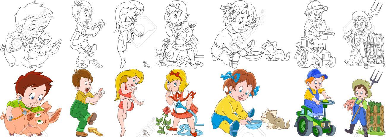 Conjunto De Personas De Dibujos Animados. Colección De Granja ...