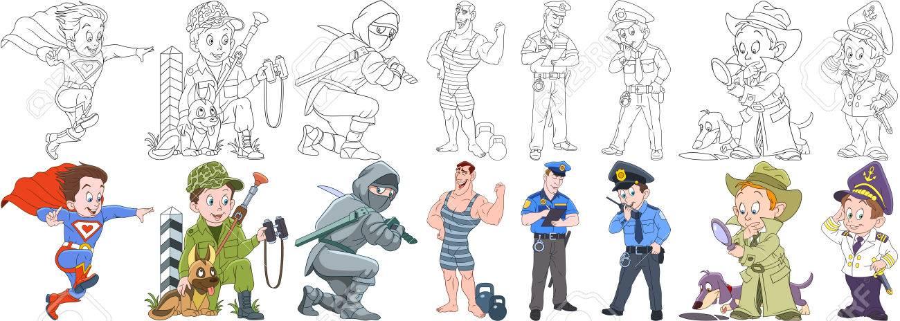 Coloriage Chien De Garde.Les Personnes Travaillant Dans Les Dessins Animes Sont Definies Collecte De Professions Superman Soldat Militaire Avec Chien De Garde Ninja