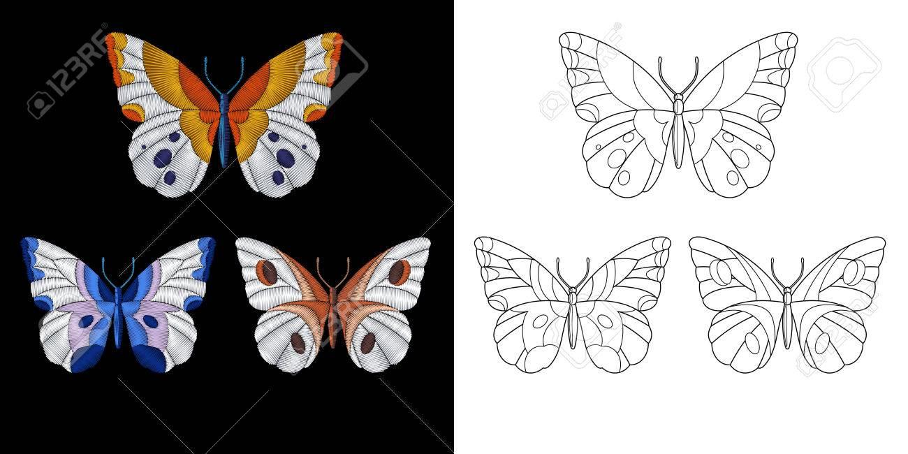 Diseño De La Mariposa Del Bordado Colección De Elementos Fancywork Para Parches Y Pegatinas Página Del Libro Para Colorear Con Un Conjunto De Tres