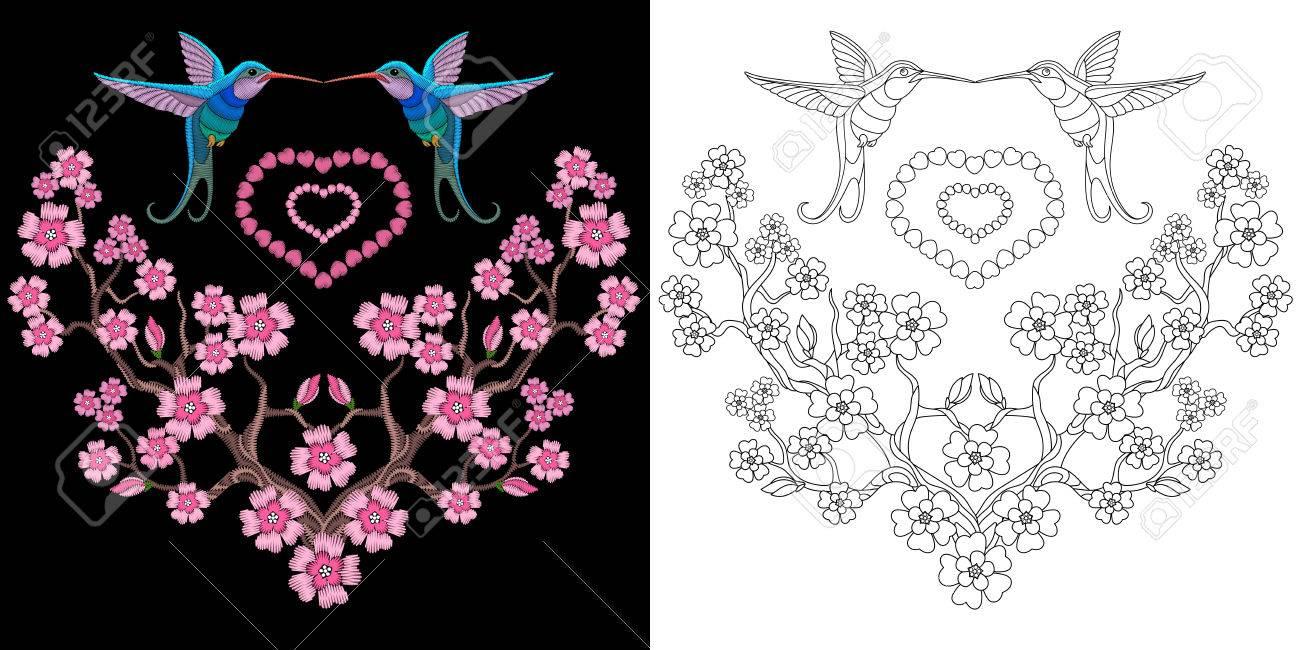 Colibrí Del Bordado Y Diseño De Sakura. Colección De Elementos ...