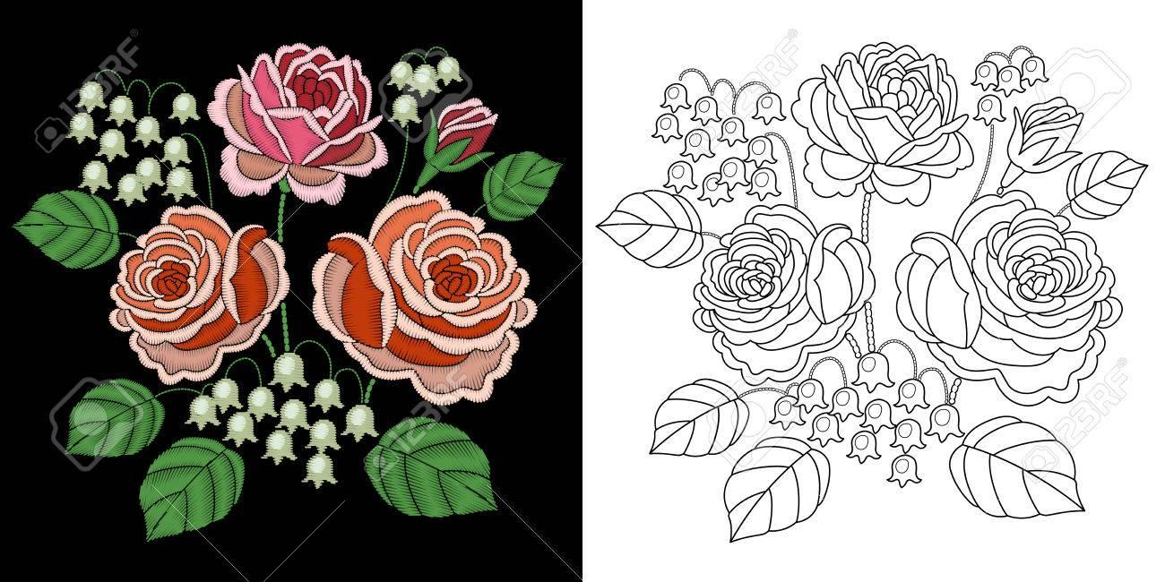 Diseño Floral Del Ramo Del Bordado. Colección De Elementos Fancywork ...