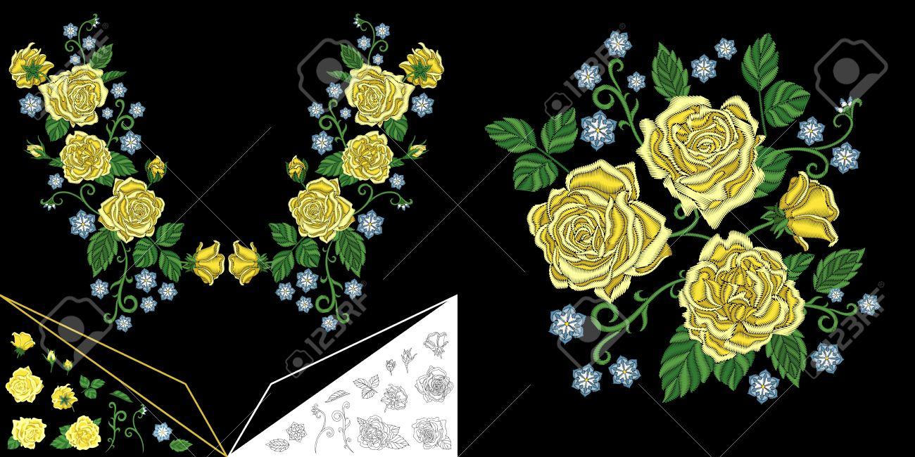 424b93c1e1 Diseño De Escote Bordado. Colección De Elementos Florales Para ...
