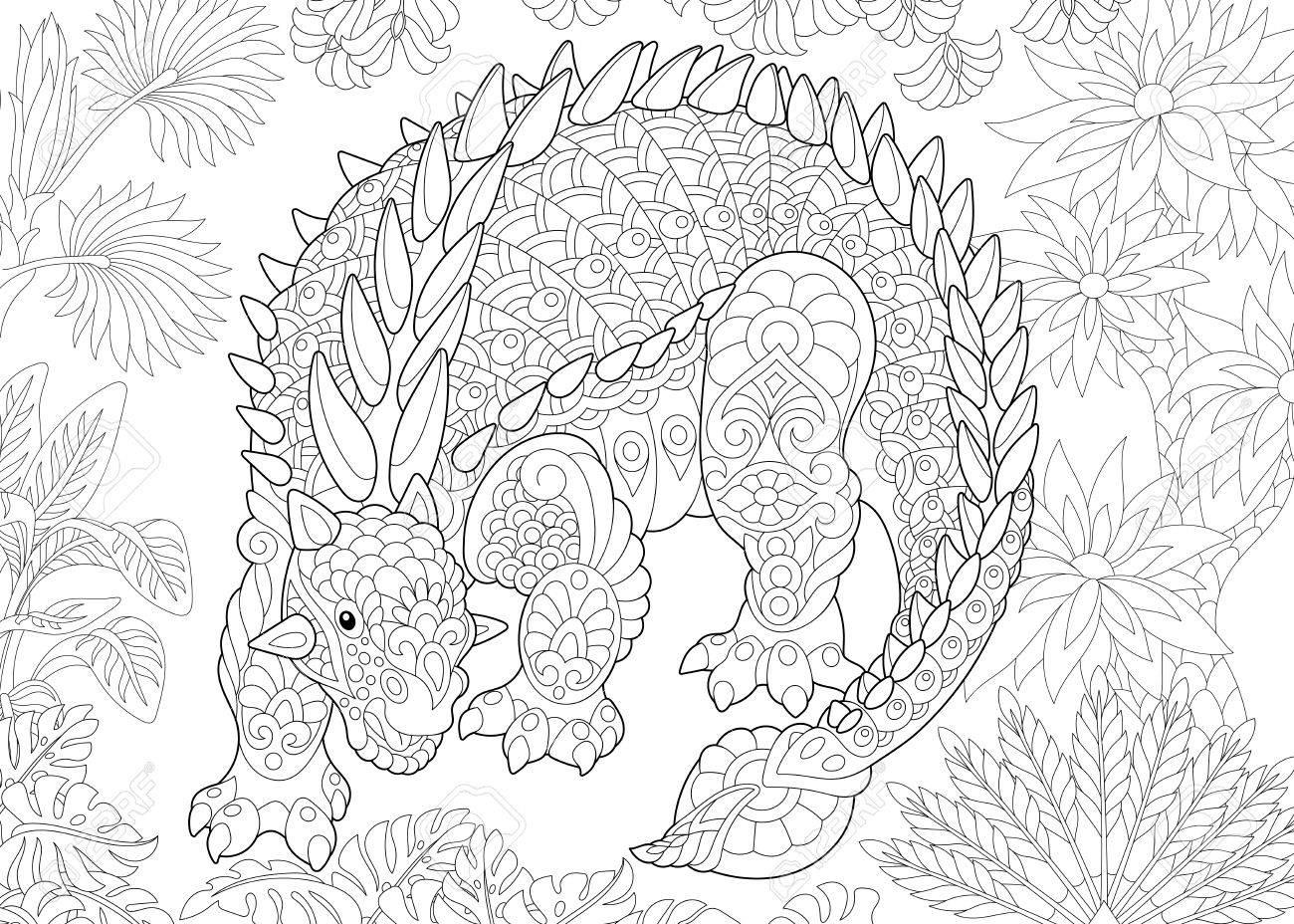 Dinosaurio Anquilosaurio Estilizado Del Período Cretácico. Dibujo A ...