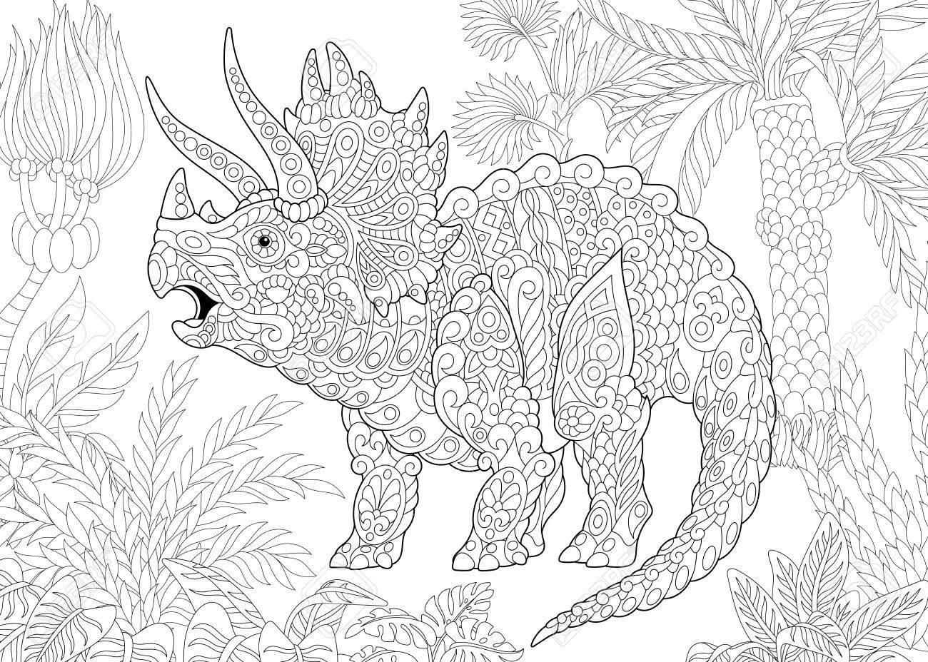 Estilizado Dinosaurio Triceratops Que Vive Al Final Del Período ...