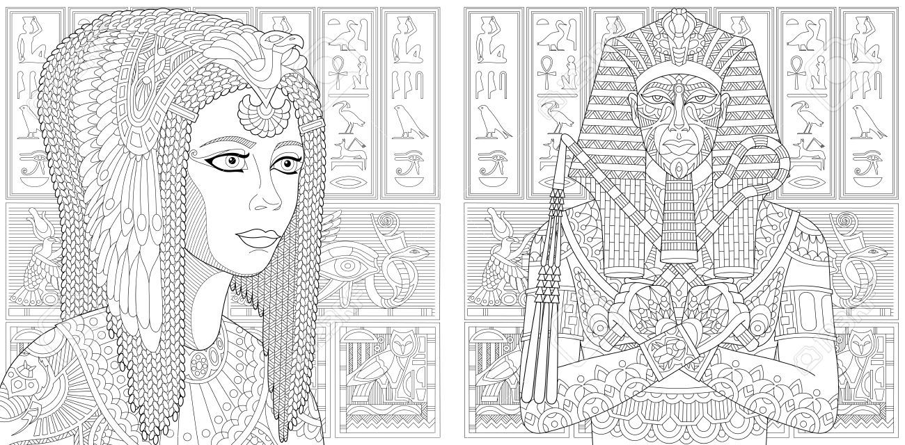 Anti Stress Coloring Book Page With Doodle Elements Ancient Pharaoh Tutankhamen Queen Cleopatra Nefertiti Egyptian Symbols Hieroglyphs On