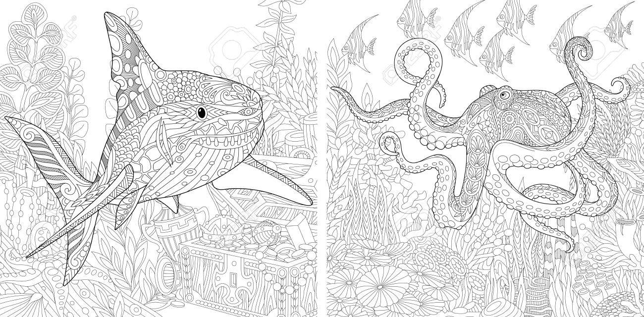 Coloring Book Page With Doodle And Zentangle Elements Stylized Composition Of Underwater Shark Octopus Poulpe Tropical Fish Seaweed