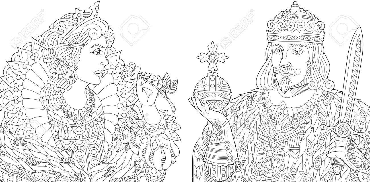 Rey Estilizado (príncipe) Con Cetro Y Espada, Joven Reina (princesa ...