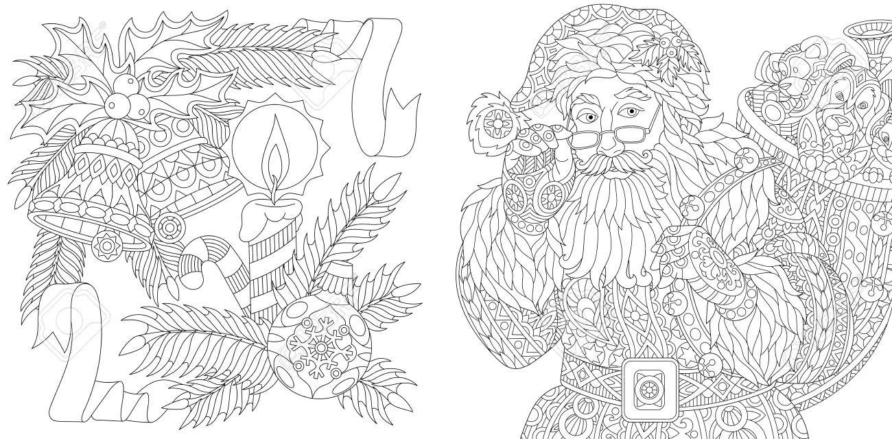 Santa Claus and New Year decorations. Christmas ball, jingle bells, candle, candy stick, ribbons, holly berry, fir branch. Adult anti stress coloring book page with zentangle elements. - 80494188