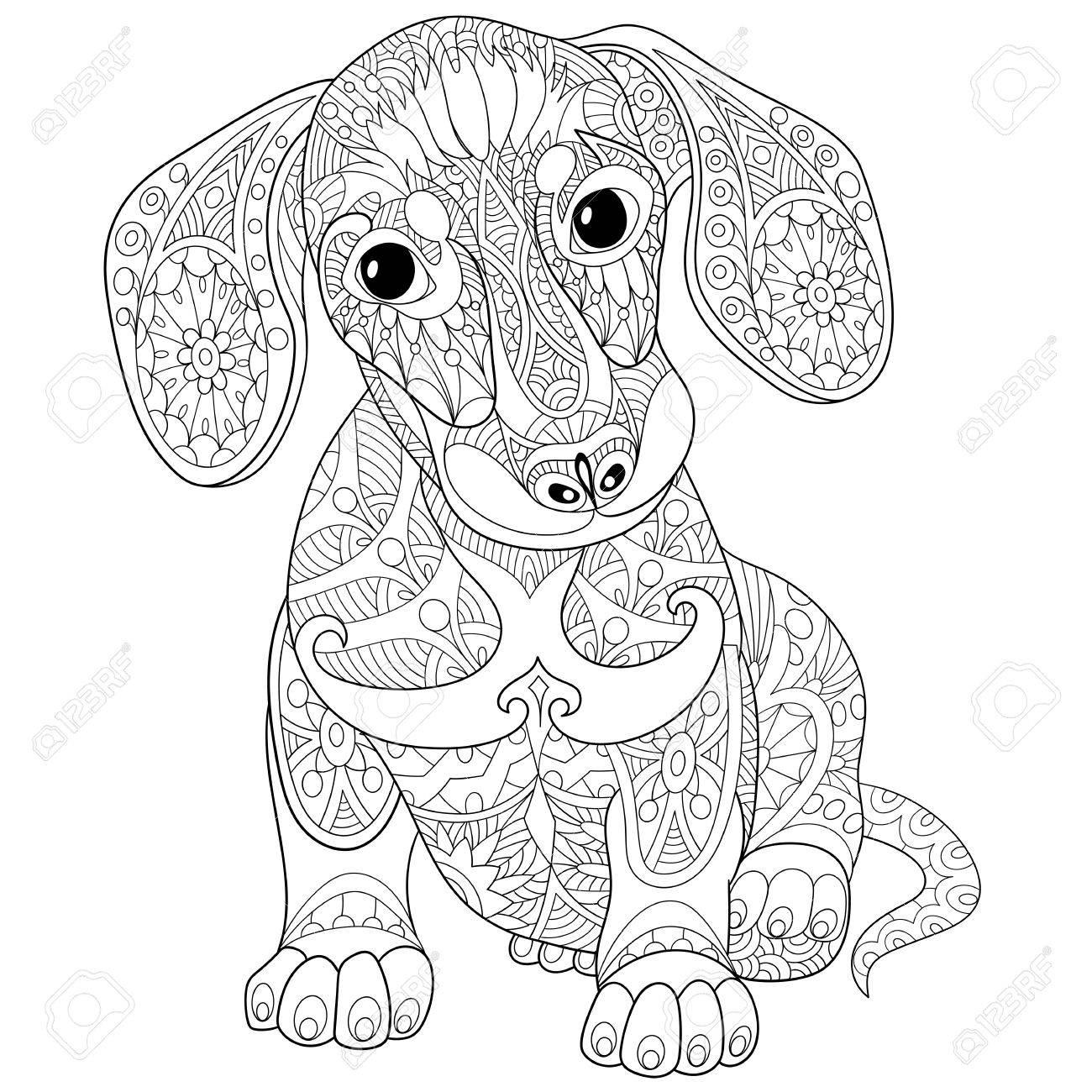 Kleurplaten Volwassenen Hond.Kleurboek Blad Van Hond Hond Geisoleerd Op Een Witte Achtergrond